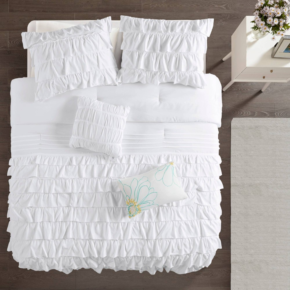 White Marley Ruffle Comforter Set Twin 5pc from No Brand