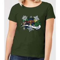 Marvel Thor Iron Man Hulk Snowflake Women's Christmas T-Shirt - Forest Green - S - Forest Green from Marvel