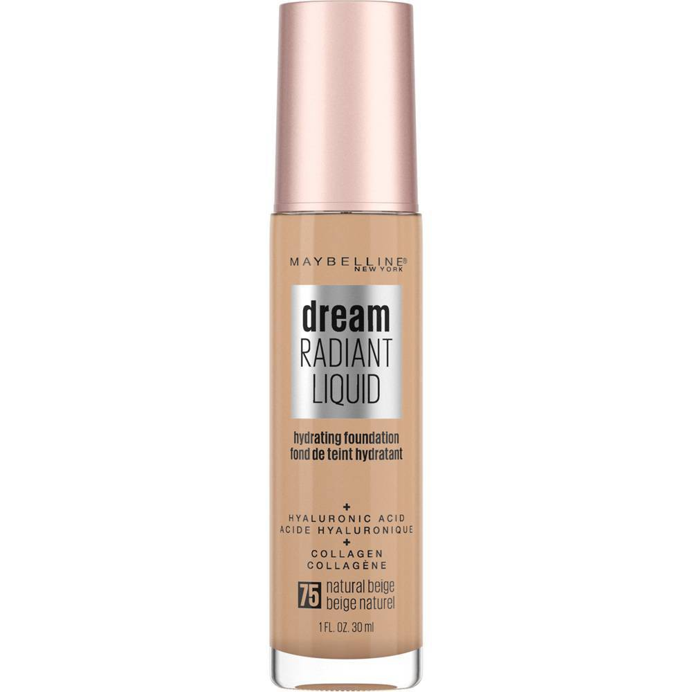 Maybelline Dream Radiant Liquid Foundation with Hyaluronic Acid + Collagen - 75 Natural Beige - 1 fl oz from Maybelline