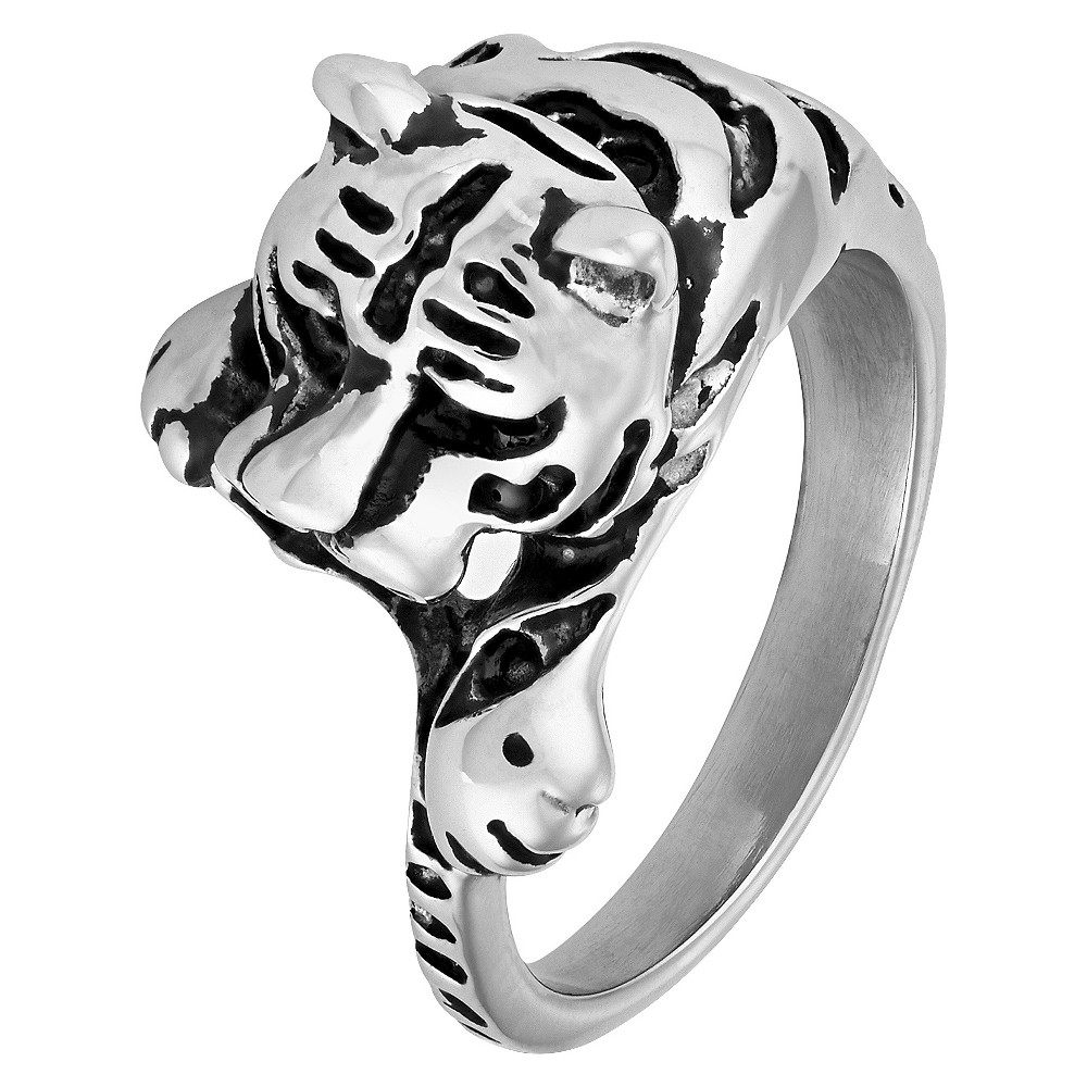 "Men's Crucible Stainless Steel Antiqued Finish Tiger Ring (13mm) - Silver ( 13"") from Crucible"