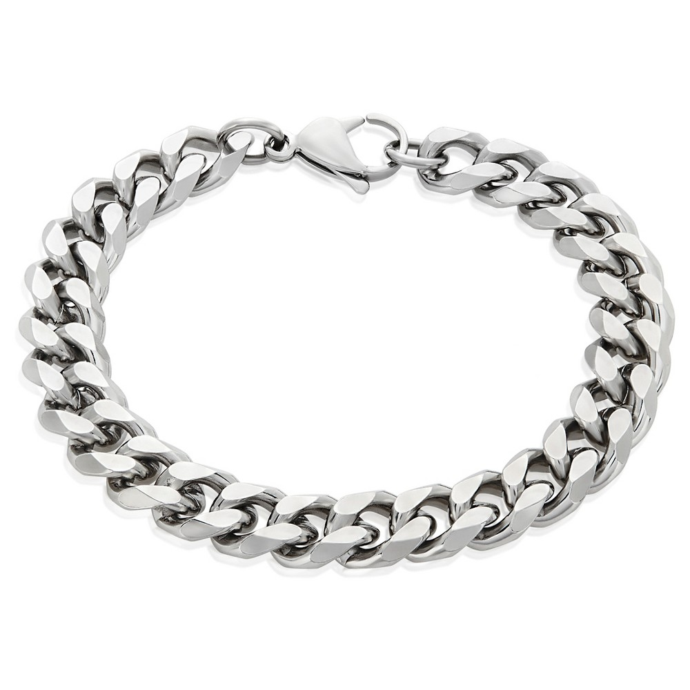 "Men's Crucible Stainless Steel Beveled Curb Chain Bracelet (11mm) - Silver (8.5"") from Crucible"