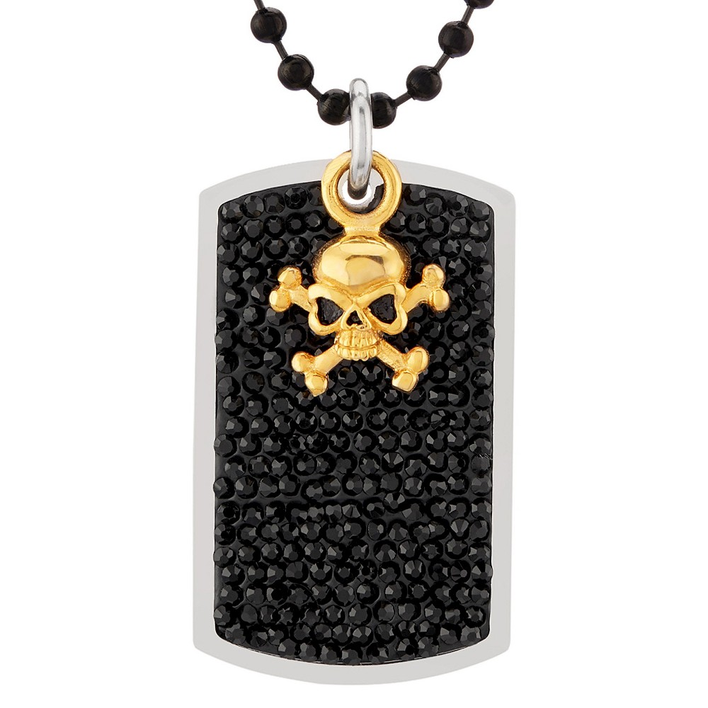 Men's Crucible Stainless Steel Black Crystal Dog Tag Pendant from Crucible