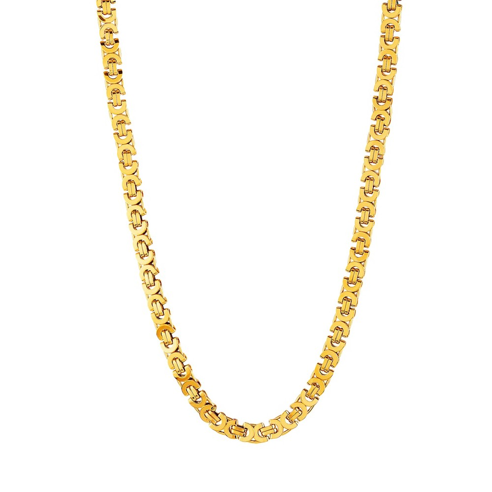 "Men's Crucible Stainless Steel Flat Byzantine Necklace - Gold (22"") from Crucible"