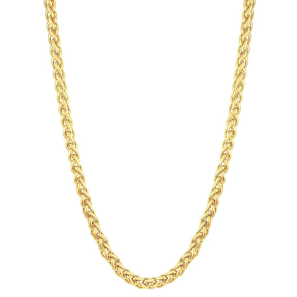 "Men's Gold Plated Stainless Steel Spiga Chain Necklace (6mm) - Gold (24"") from Crucible"