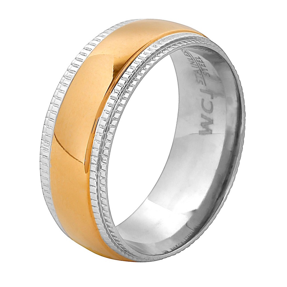 Men's West Coast Jewelry Goldplated Stainless Steel Ridged Edge Band Ring (12) from West Coast Jewelry