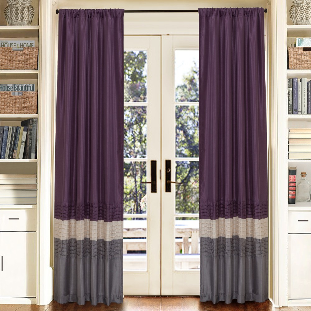 "Mia Window Curtain Panel Pair Gray/Purple (84""x54"") - Lush Décor, Adult Unisex"