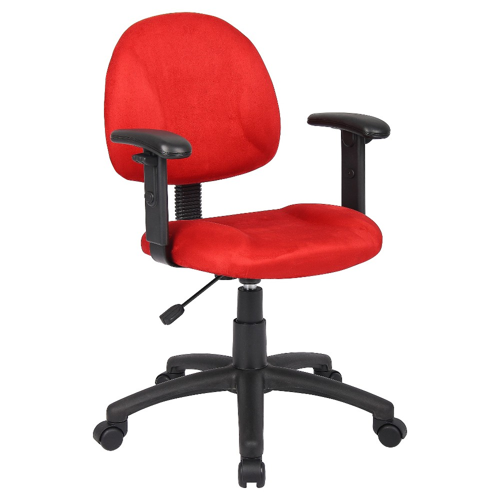 Microfiber Deluxe Posture Chair with Adjustable Arms Red - Boss Office Products from Boss Office Products