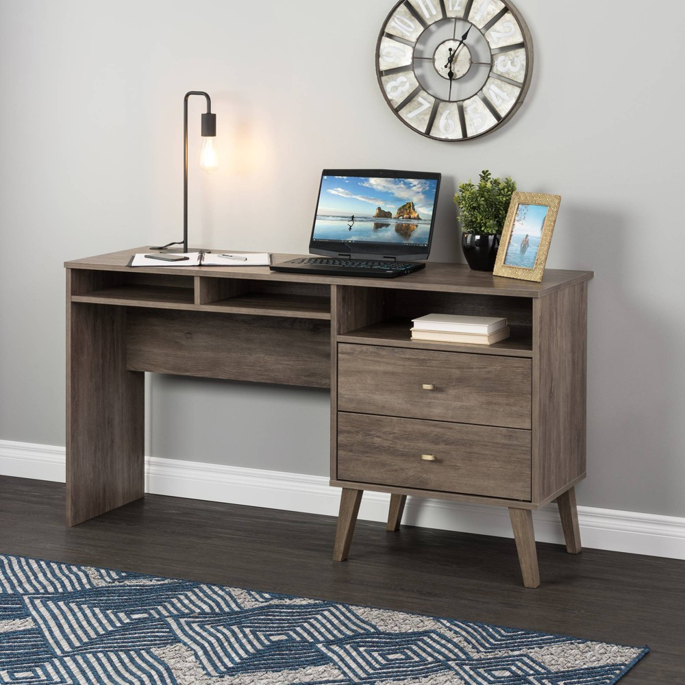 Milo Computer Desk with Side Storage and 2 Drawers Drifted Gray - Prepac