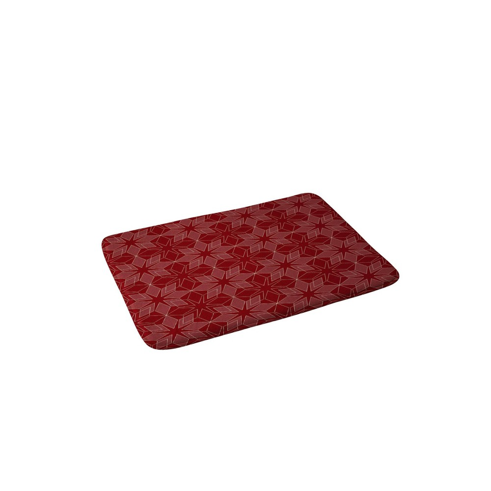 Mirimo Celebration Stars Christmas Memory Foam Bath Mat Red - Deny Designs from Deny Designs