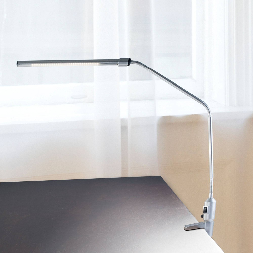 Modern Contemporary Clamp Desk Lamp Silver (Includes LED Light Bulb) - Trademark Global from Trademark Global