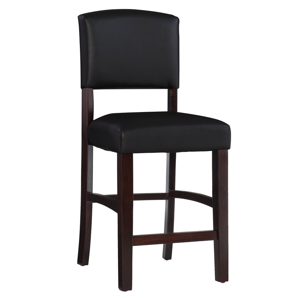 "24"" Monaco Counter Height Barstool Hardwood/Brown - Linon from Linon"