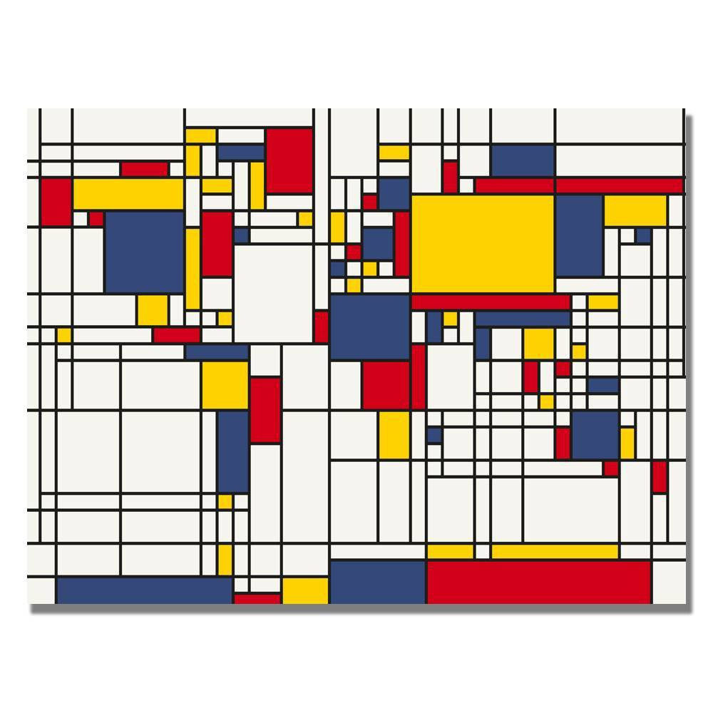 "22"" x 32"" Mondrian World Map by Michael Tompsett - Trademark Fine Art from Trademark Global"