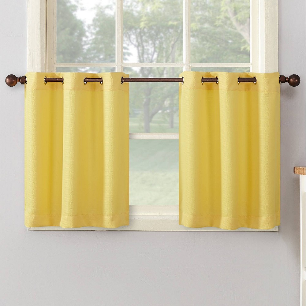 "Set of 2 36""x56"" Montego Casual Textured Grommet Top Kitchen Curtain Tier Yellow - No. 918"