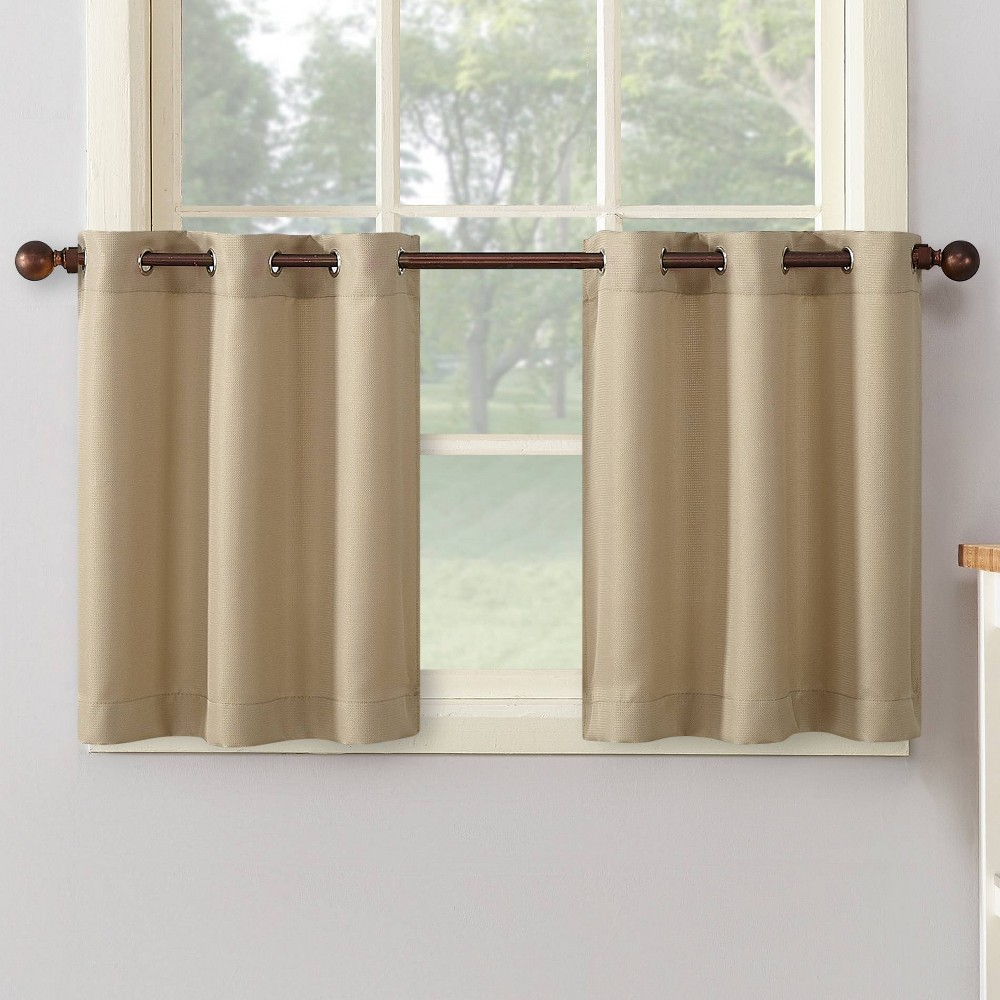 "24""x56"" Montego Casual Textured Grommet Kitchen Curtain Tier Taupe - No. 918"