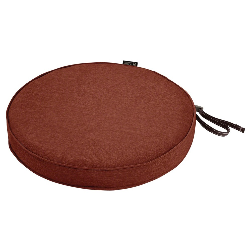 Montlake Fadesafe Round Patio Dining Seat Cushion Set - Heather Henna Red - Classic Accessories