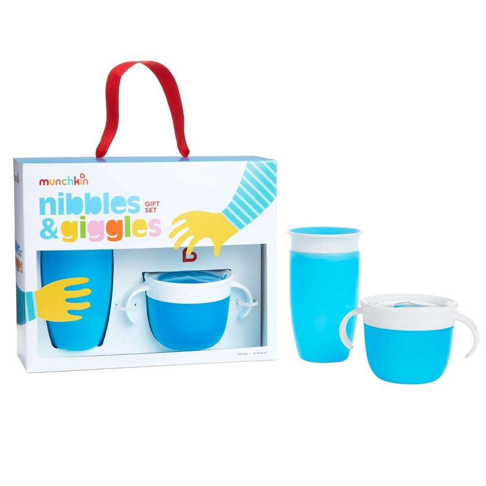Munchkin Nibbles & Giggles Toddler Miracle Cup And Snack Catcher Feeding Gift Set - Blue from Munchkin