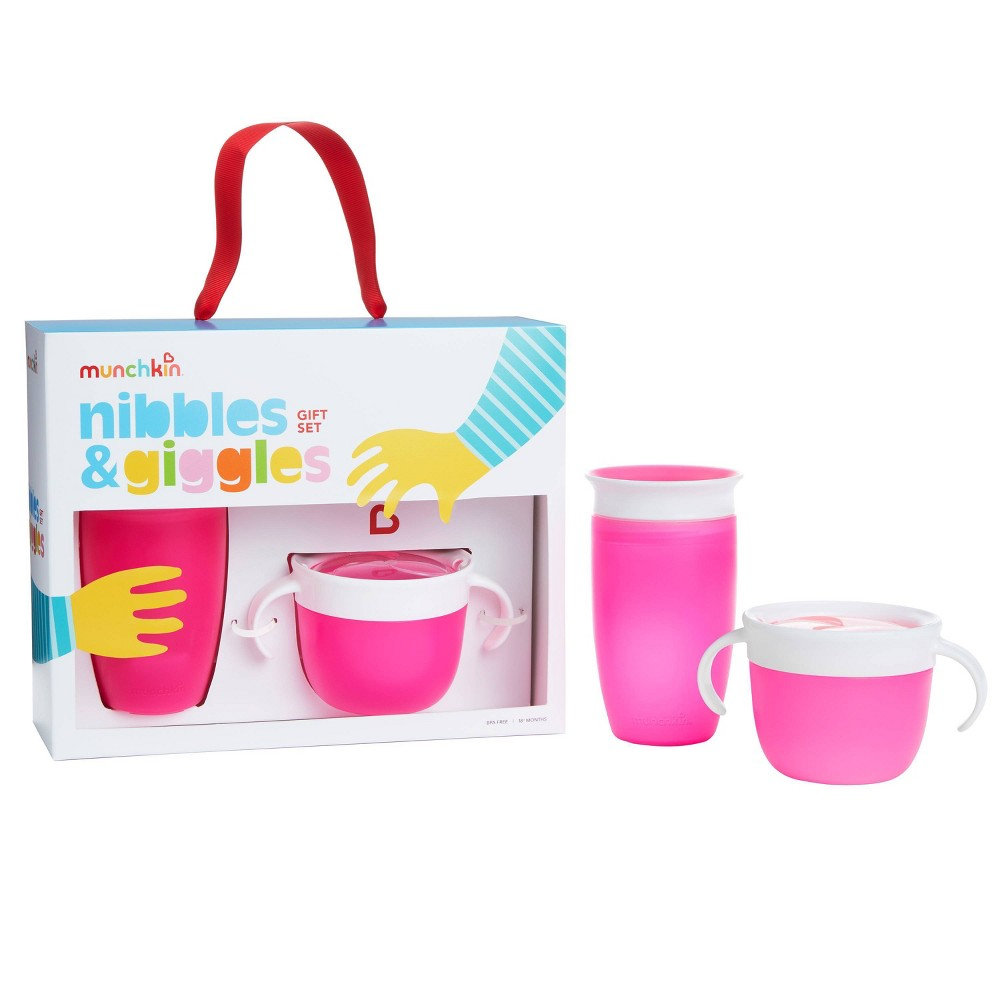 Munchkin Nibbles & Giggles Toddler Miracle Cup And Snack Catcher Feeding Gift Set - Pink from Munchkin