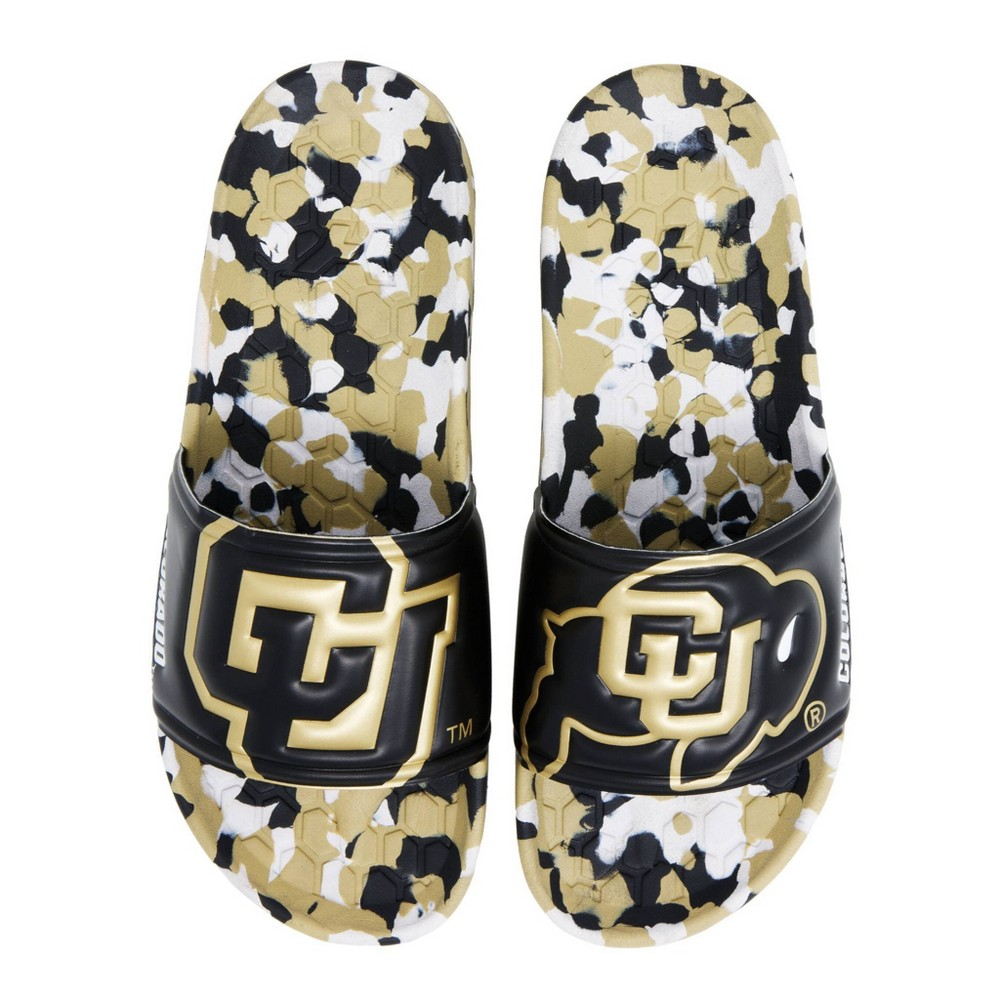 NCAA University of Colorado Buffaloes Embossed Slide Sandals W9/M7 from Hype Co