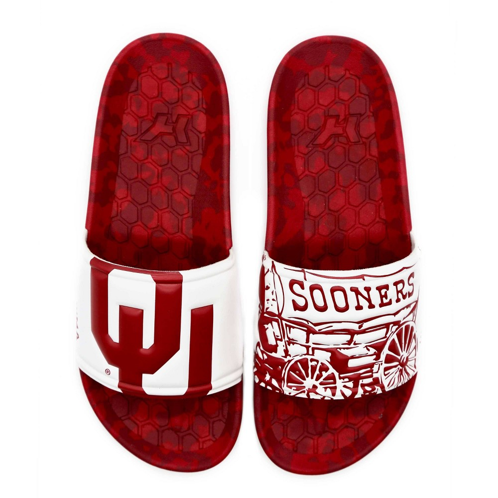 NCAA University of Oklahoma Sooners Embossed Slide Sandals W9/M7 from Hype Co