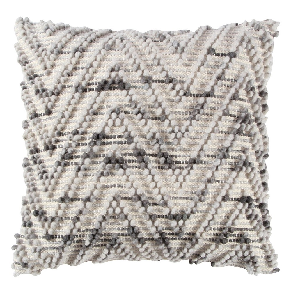 "Natural/Gray Chevron Throw Pillow (20""x20"") - Rizzy Home, Multi-Colored"