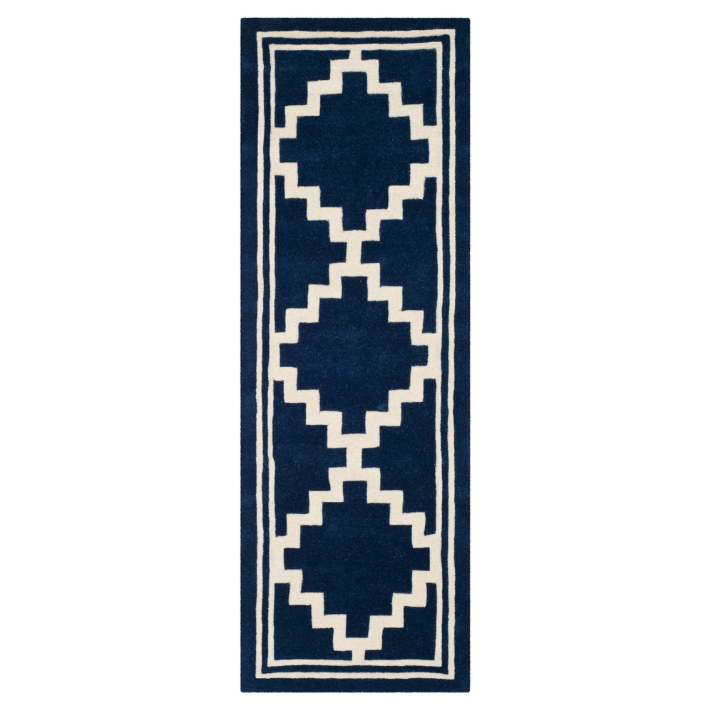 "Navy/Ivory Geometric Tufted Runner 2'3""X7' - Safavieh, Size: 2'3""X7' RUNNER, Blue/Ivory"