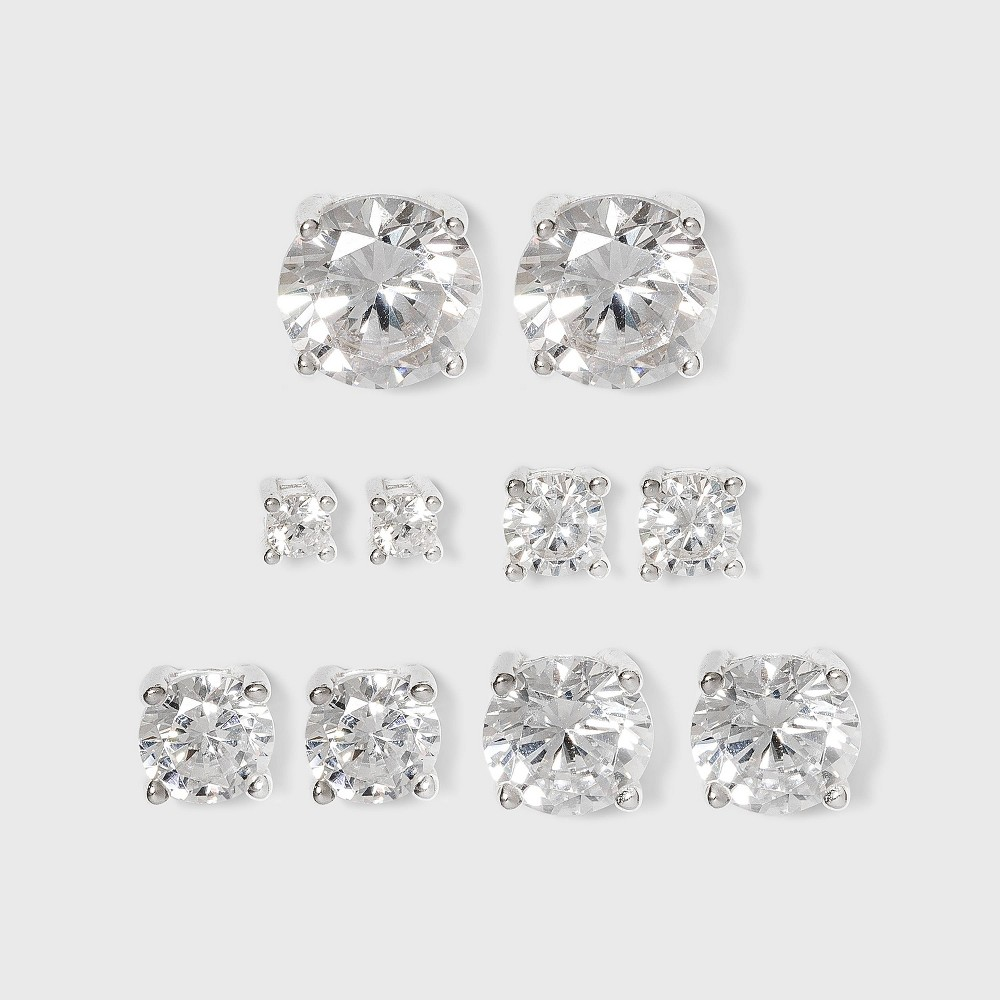 Studs Sterling Cubic Zirconia Earring Set 5pc - Silver/Clear from Distributed by Target