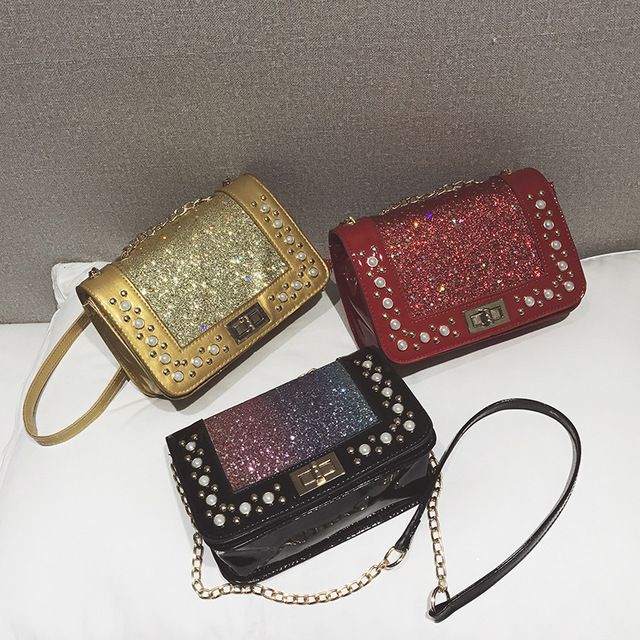 New Trend Fashion Wild Sequins Shoulder Diagonal Bag Pearl Turn Lock Handbag
