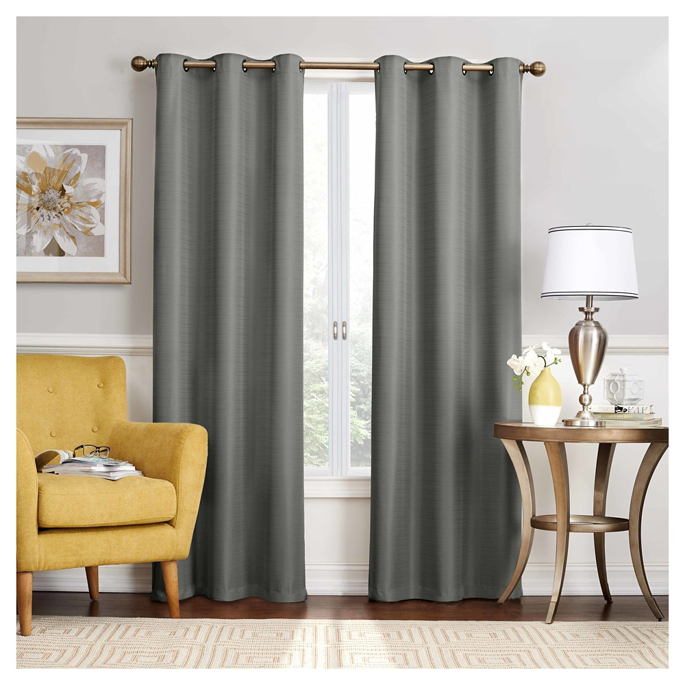 "95""x40"" Nikki Thermaback Blackout Curtain Panels Gray - Eclipse"