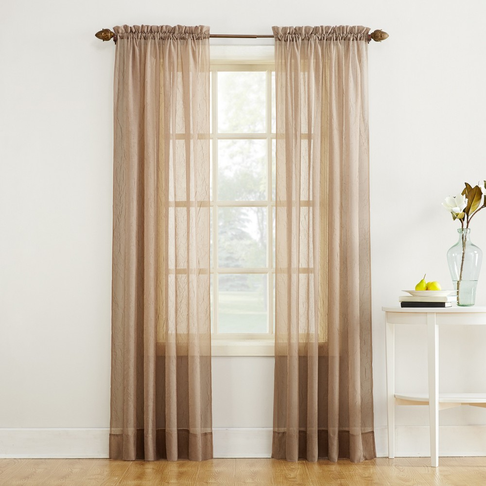 "84""x51"" Erica Crushed Sheer Voile Rod Pocket Curtain Panel Taupe - No. 918"
