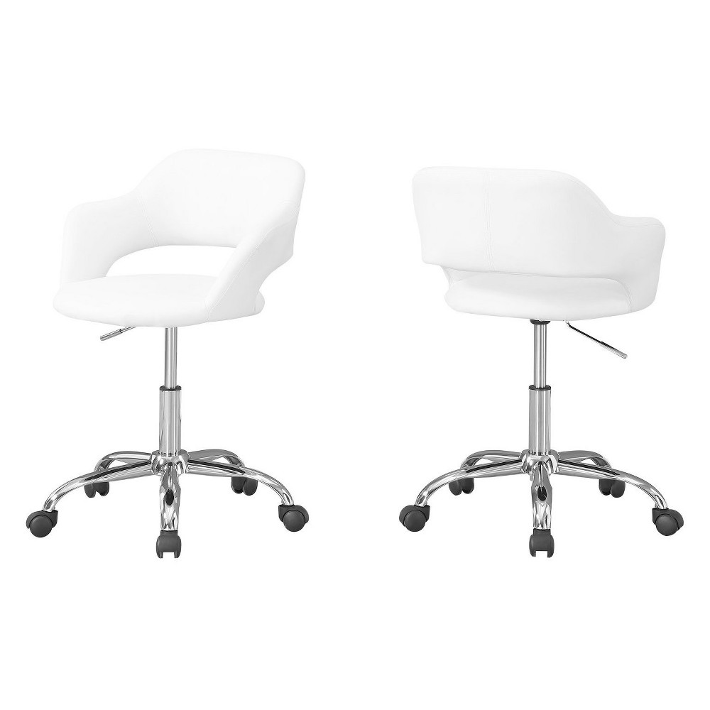 Office Chair Chrome Metal Hydraulic Lift Base White - EveryRoom from EveryRoom