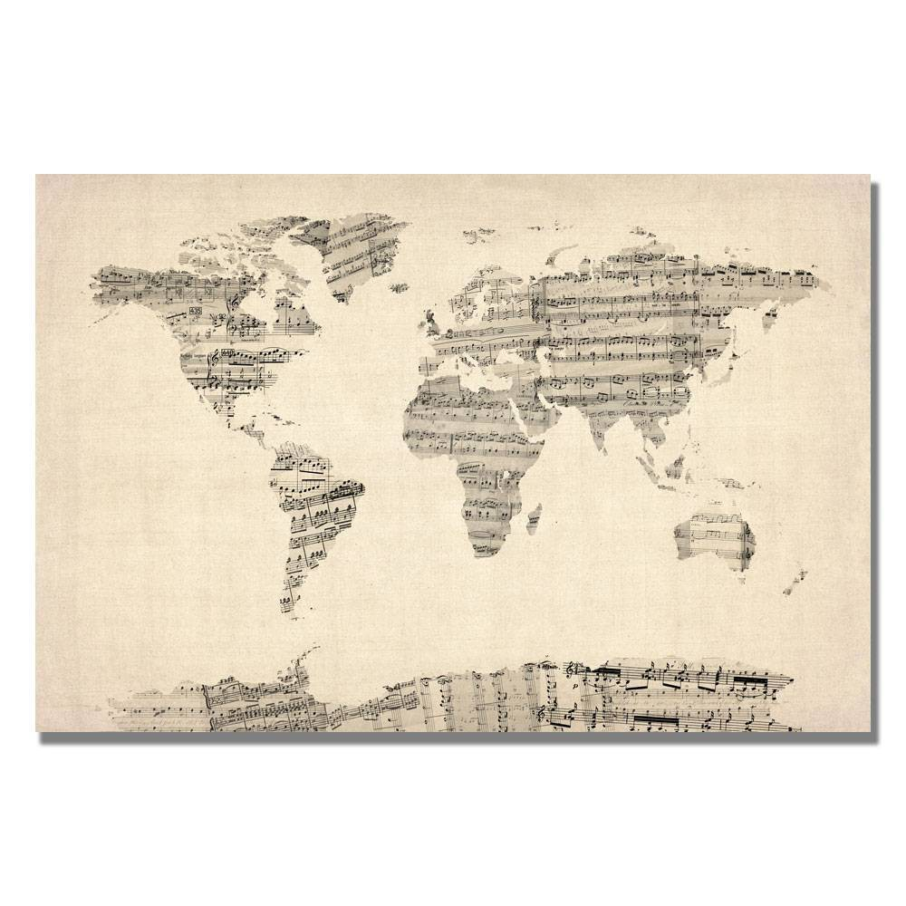 "22"" x 32"" Old Sheet Music World Map by Michael Tompsett - Trademark Fine Art from Trademark Global"