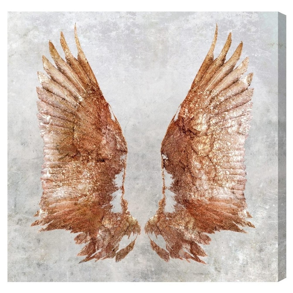 "Oliver Gal Unframed Wall ""Rose Gold Wings"" Canvas Art (20x20), Pink"