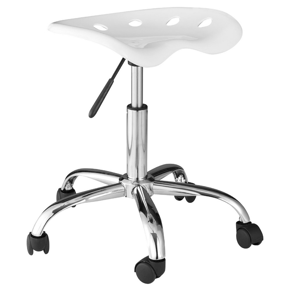 OneSpace 60-101401 Computer Task Chair with Tractor Seat, White