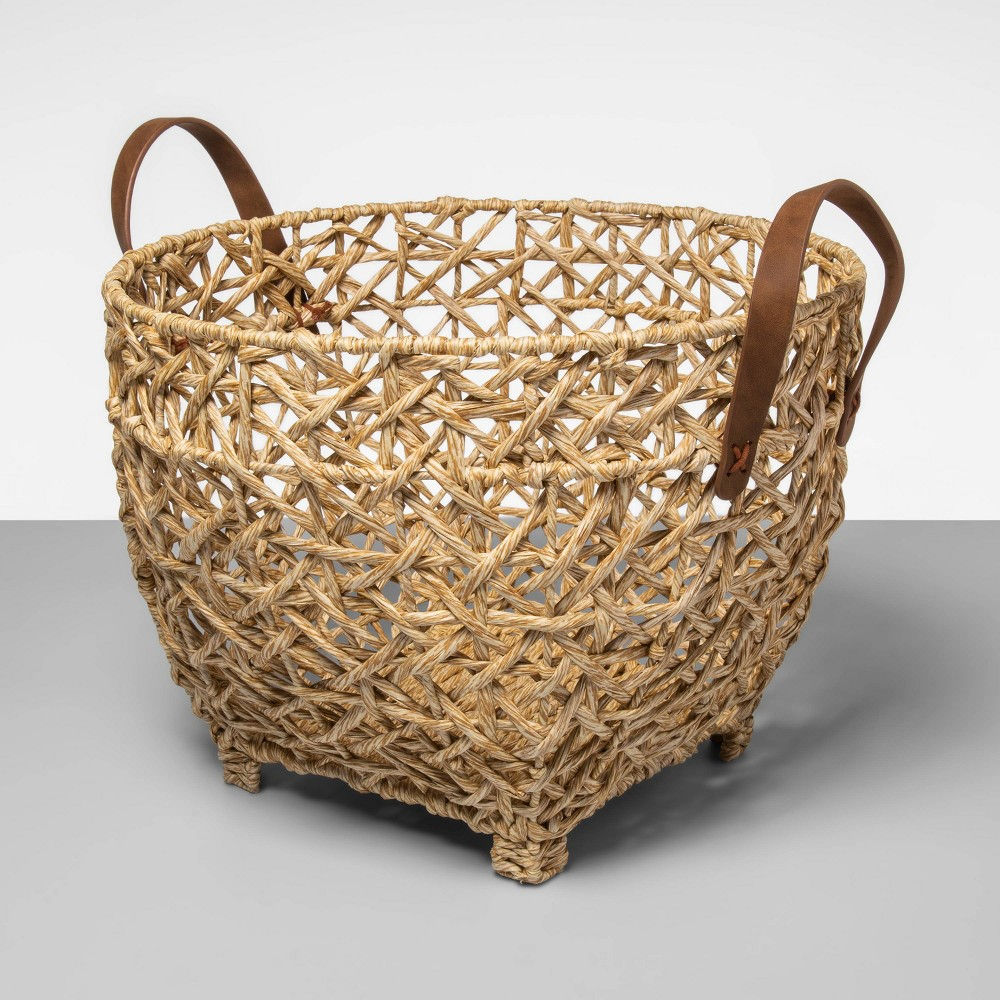 Open Weave Basket With Feet And Leather Handle - Opalhouse from Opalhouse