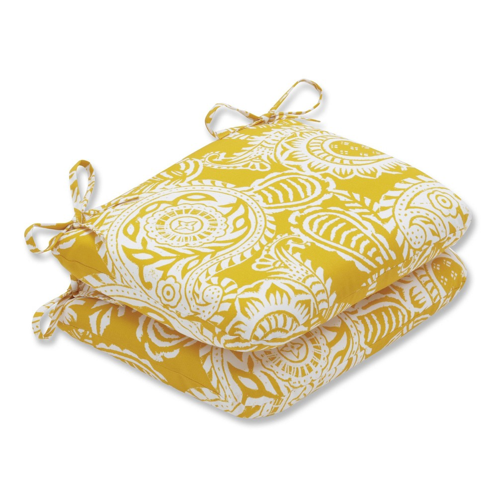 Outdoor/Indoor Addie Yellow Rounded Corners Seat Cushion Set of 2 - Pillow Perfect