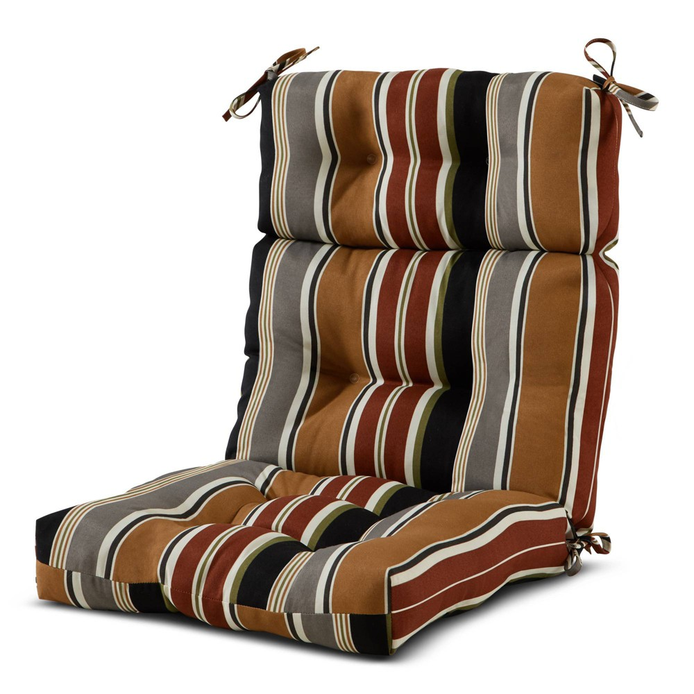 Outdoor High Back Chair Cushion Brick Stripe - Kensington Garden from Kensington Garden
