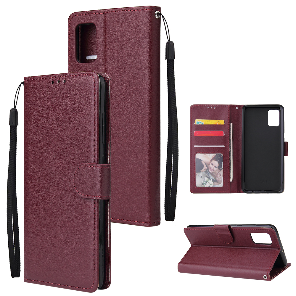 PU Leather Case Wallet Cell Phone Cover with Lanyard for Samsung Galaxy A71 - Wine Red