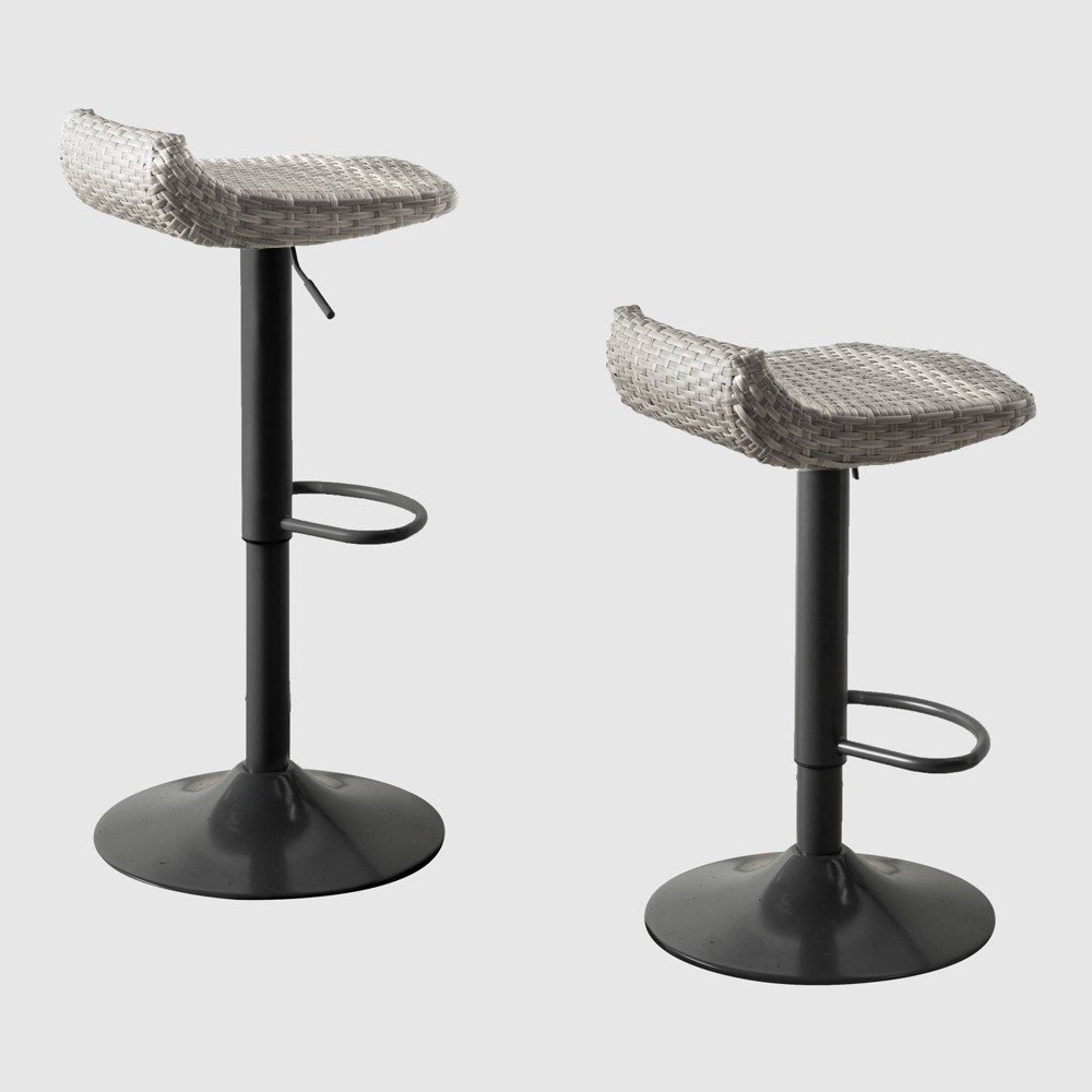 2pk All-Weather Wicker Patio Barstool Set Gray - RST Brands from RST Brands