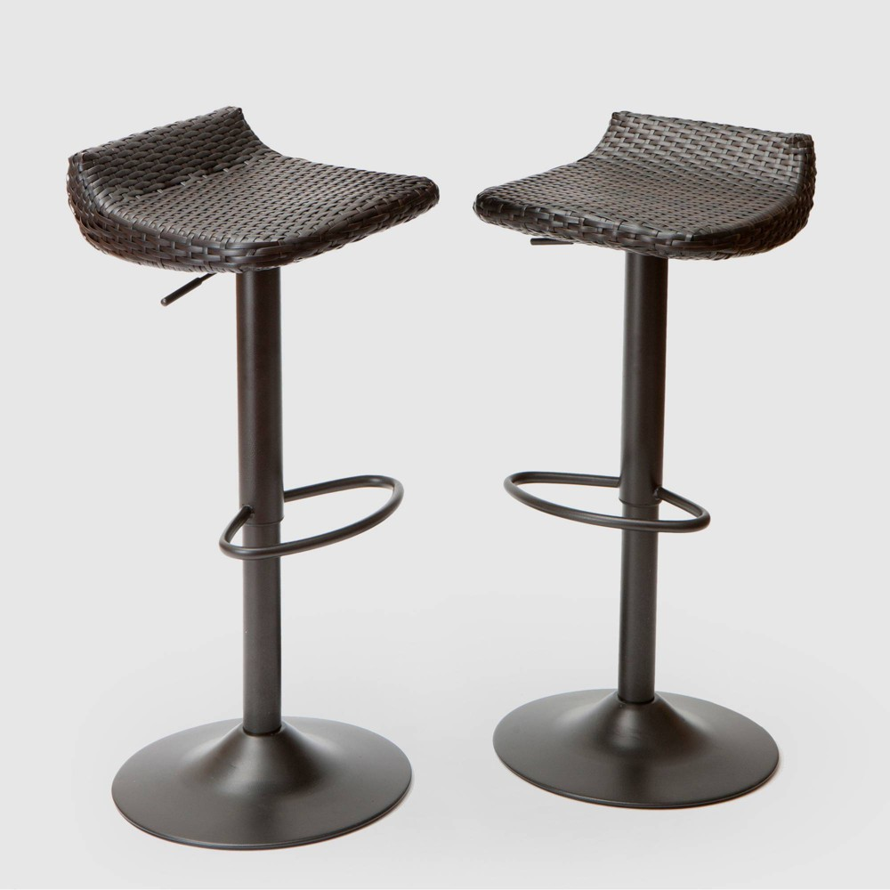 Deco 2pk All- Weather Wicker Patio Barstool Set - Brown - RST Brands from RST Brands