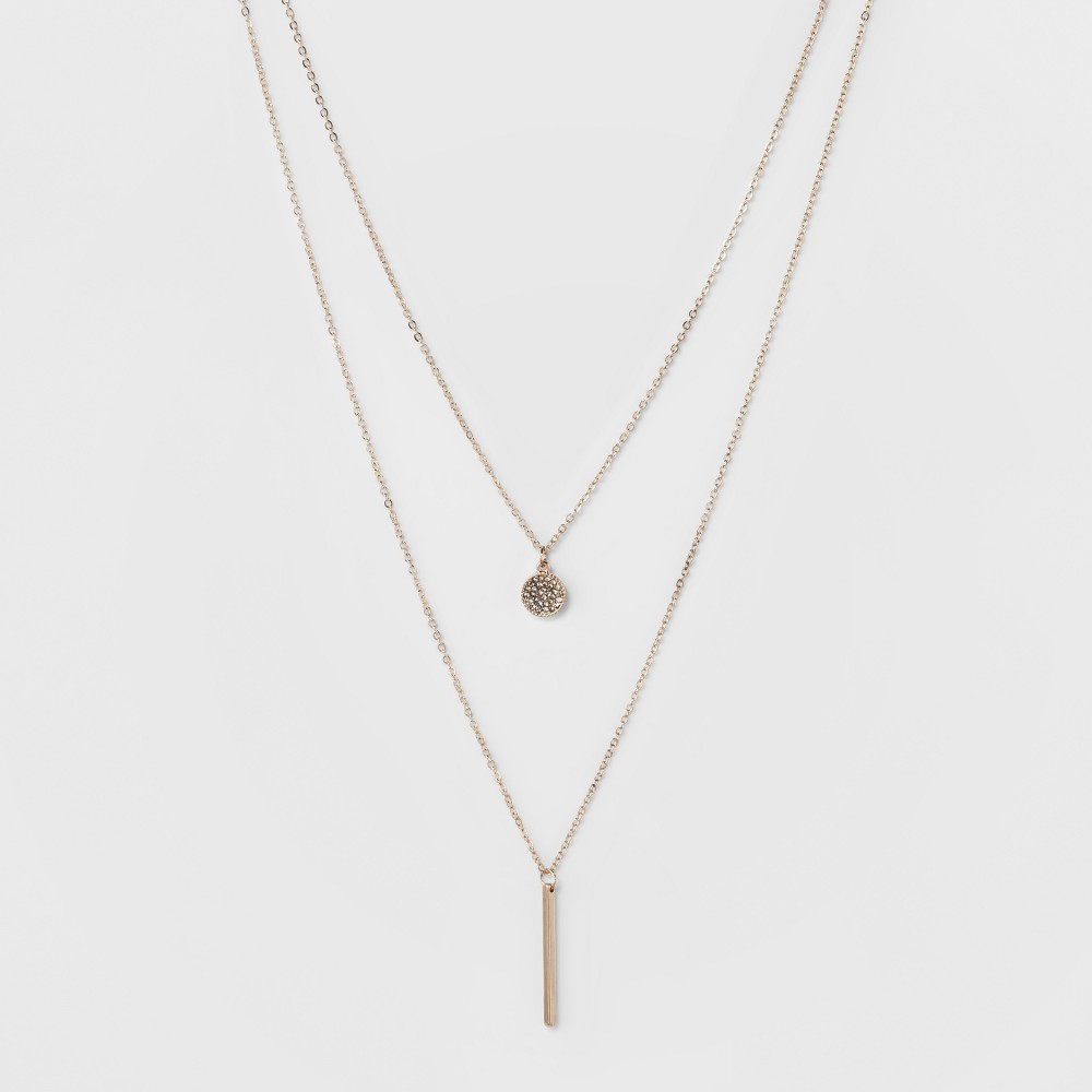 Pave Circle and Thin Bar Two Row Short Necklace - A New Day Rose Gold/Clear