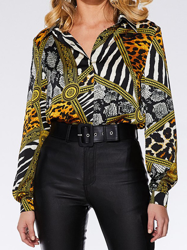 Print Patchwork Long Sleeve Botton Casual Blouse