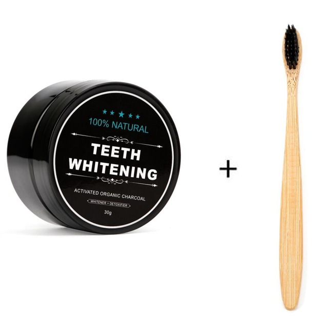 Private Label Teeth Care Products Activated Charcoal Powder Bamboo Toothbrush Teeth Whitening Kit
