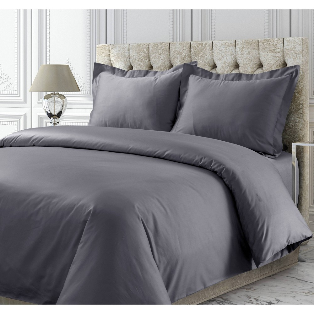 Queen 3pc 300 Thread Ct Rayon from Bamboo Oversized Duvet Set Gray - Tribeca Living from Tribeca Living
