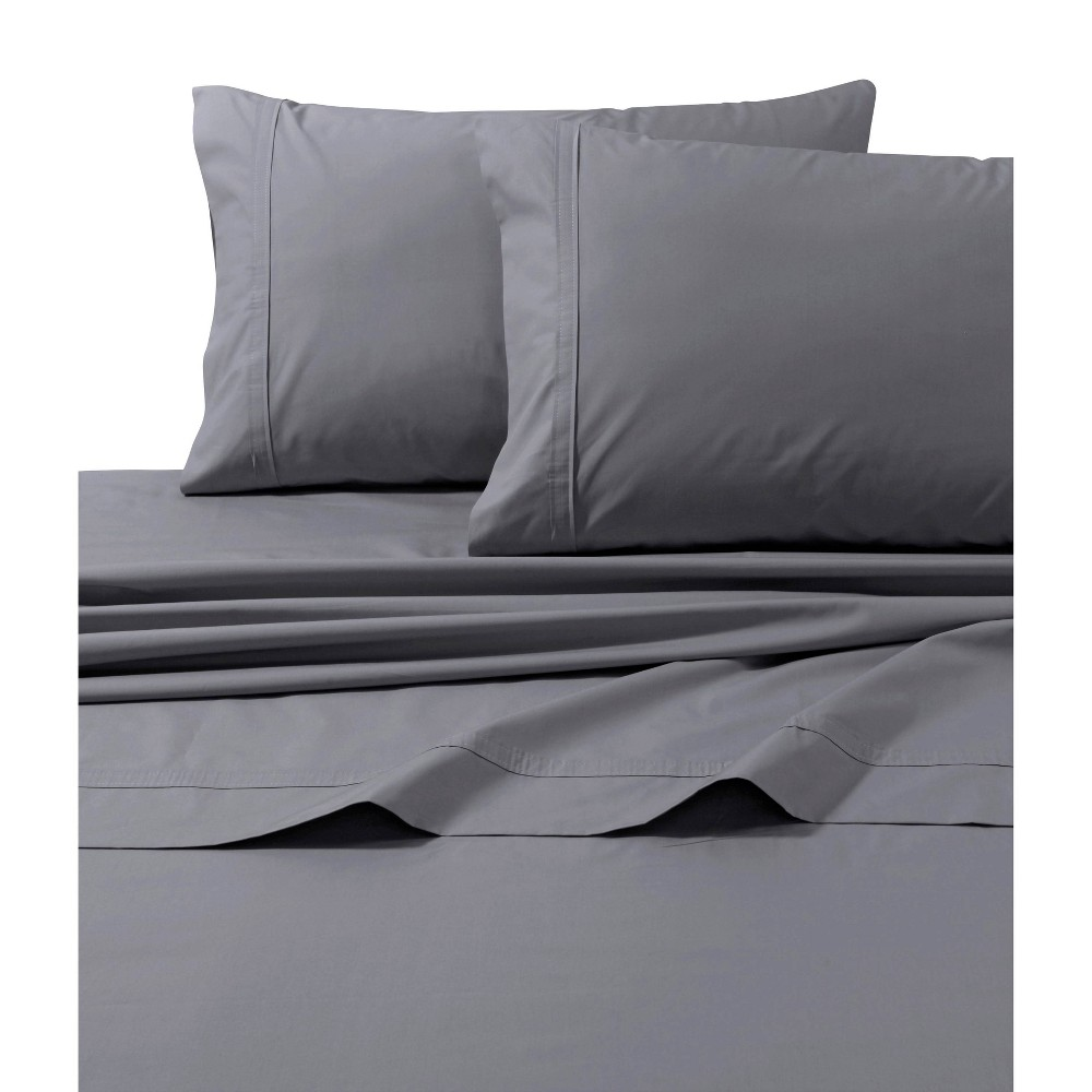 Queen 500 Thread Count Oversized Flat Sheet Gray - Tribeca Living from Tribeca Living