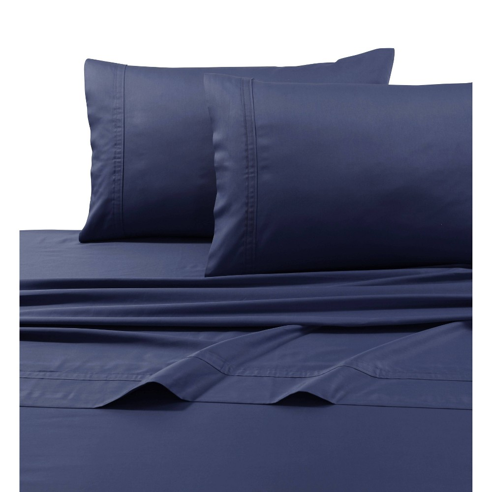 Queen 500 Thread Count Oversized Flat Sheet Midnight Blue - Tribeca Living from Tribeca Living