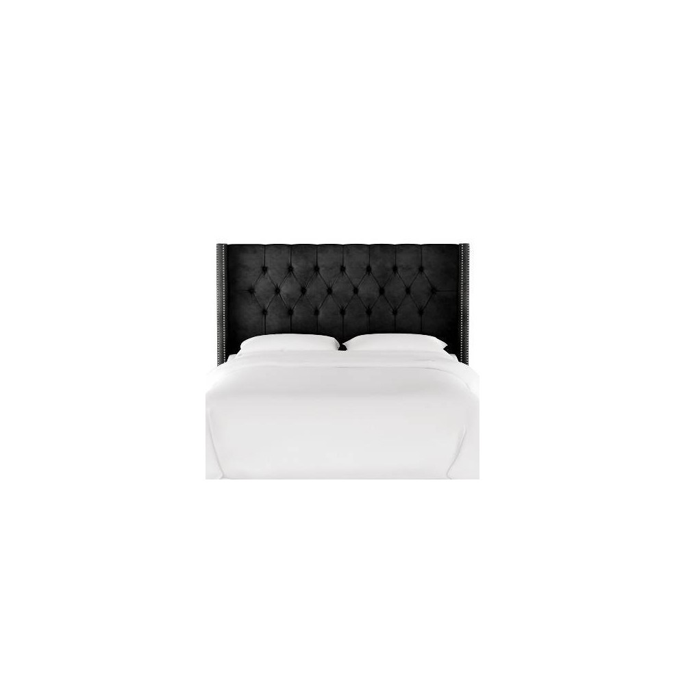 Queen Louis Diamond Tufted Wingback Headboard Black Velvet with Pewter Nail Buttons - Skyline Furniture from Skyline Furniture