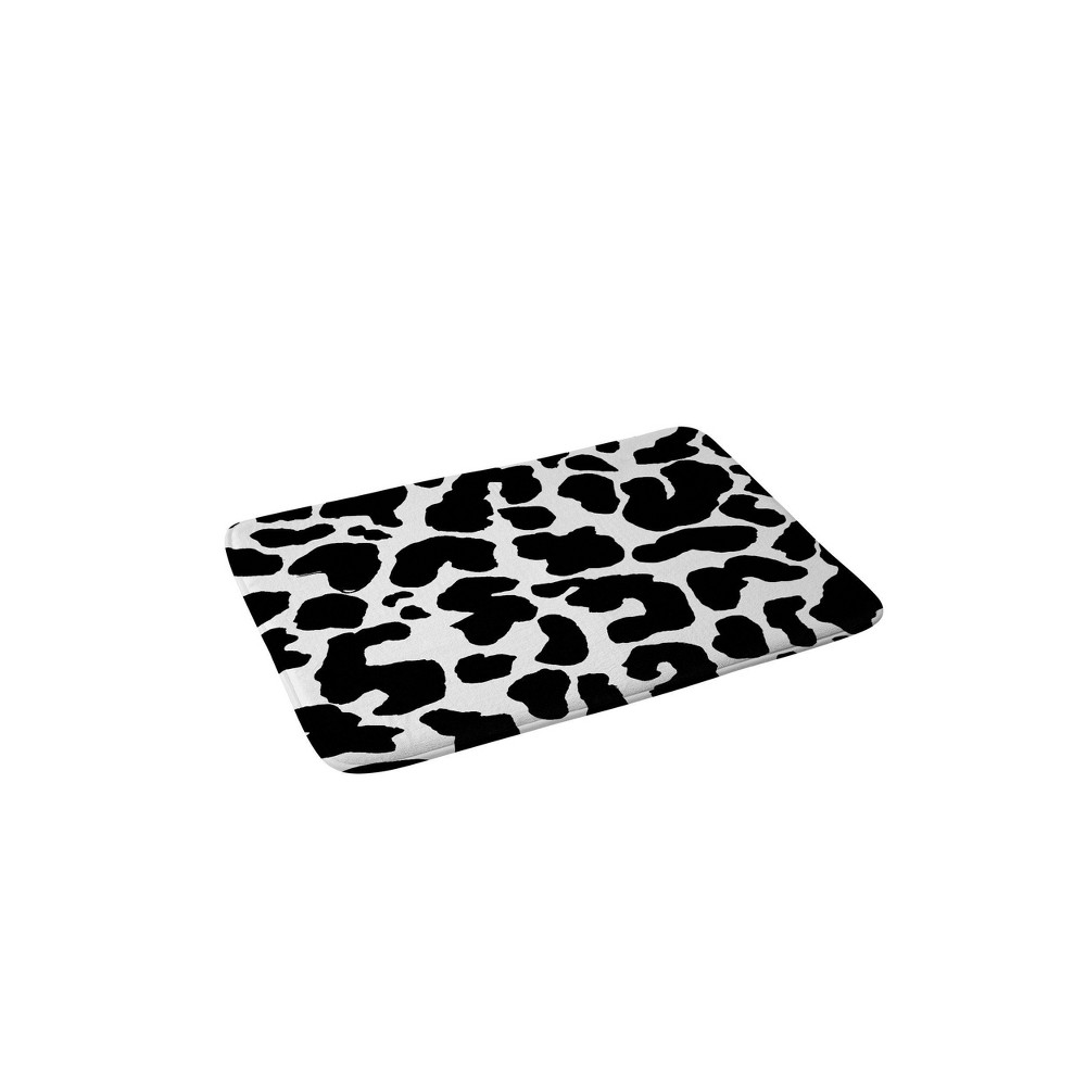 Rebecca Allen Black Leopard Memory Foam Bath Mat Black/White - Deny Designs from Deny Designs