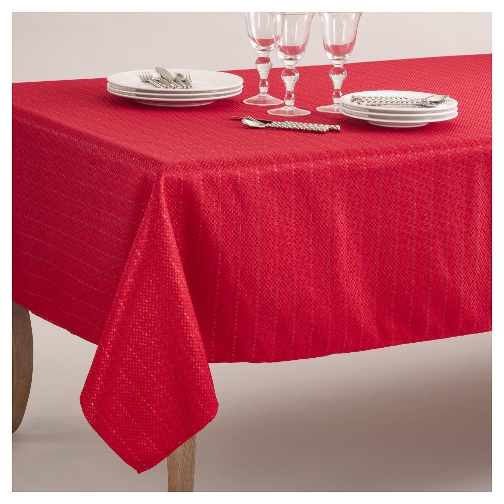 "65""x104"" Stitched Design Classic Tablecloth Red - Saro Lifestyle from Saro Lifestyle"