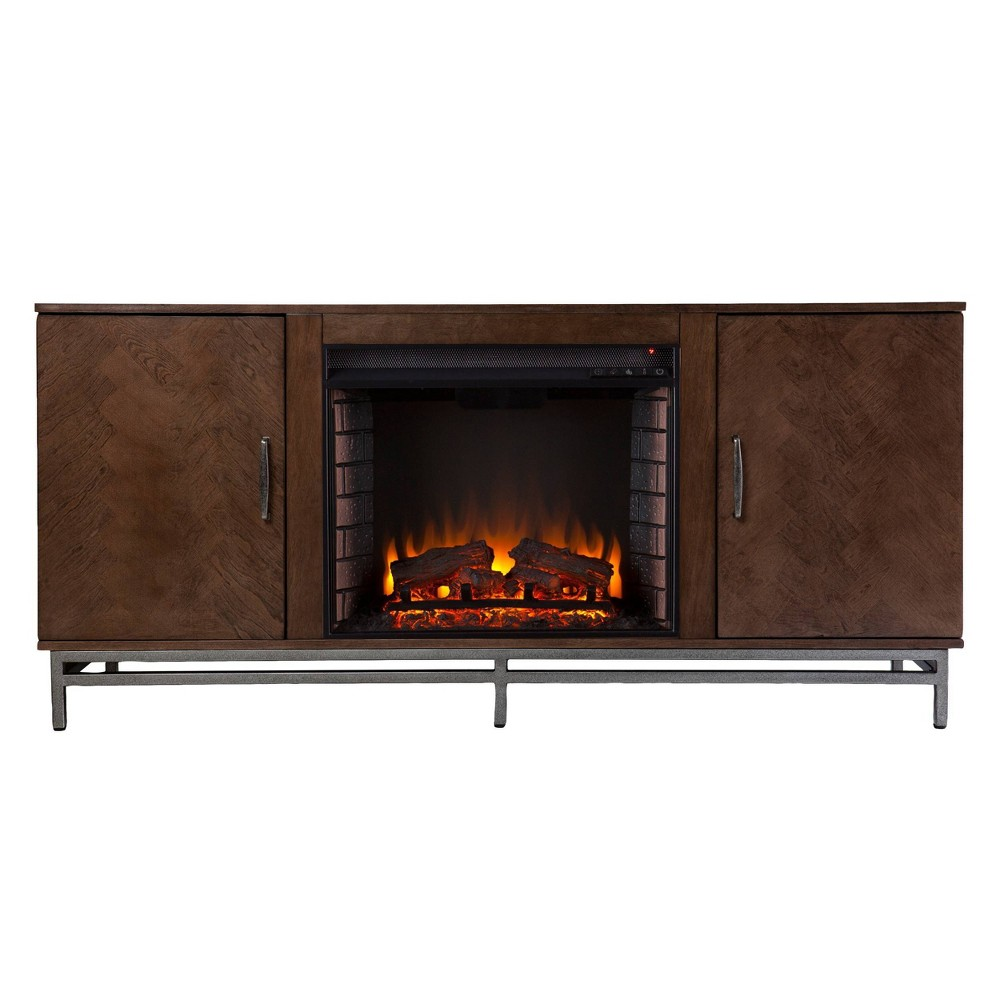 Retim Electric Fireplace with Media Storage Brown/Silver - Aiden Lane from Aiden Lane