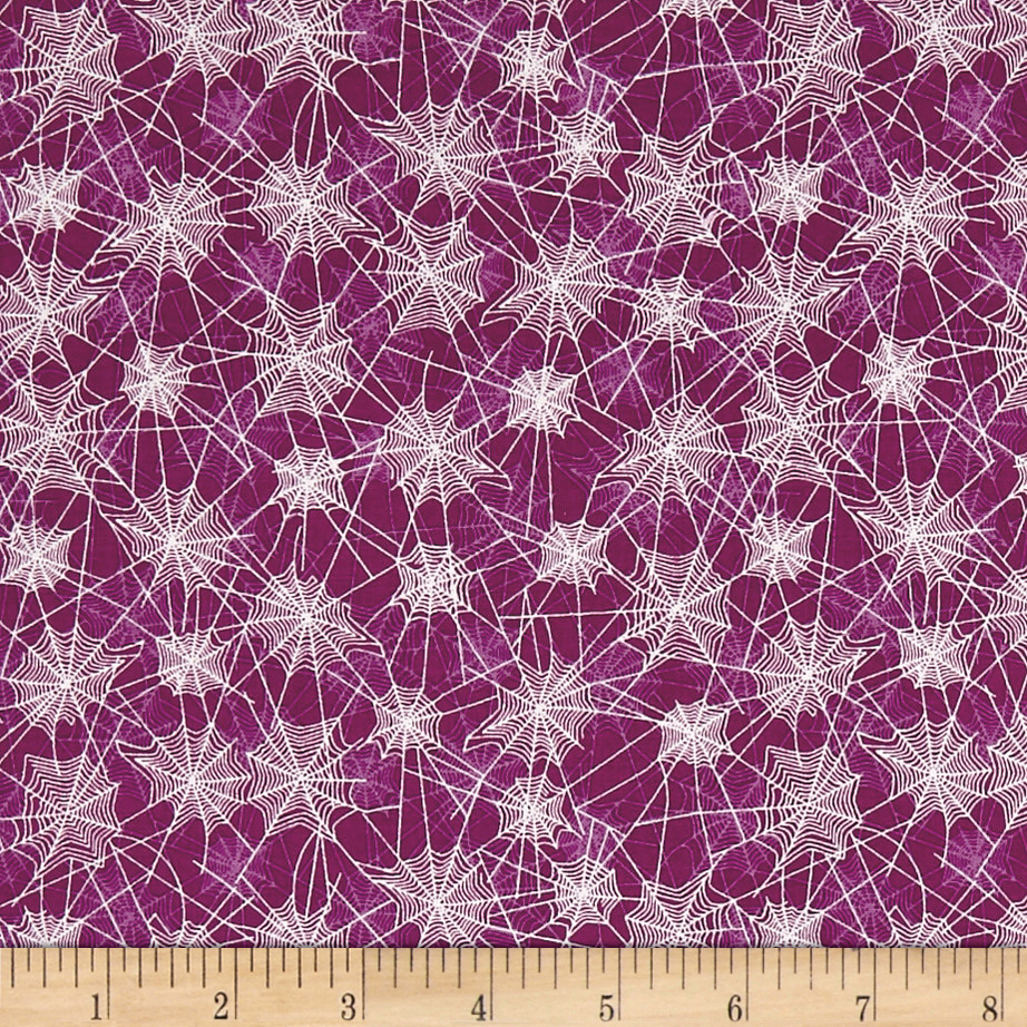 Riley Blake Haunted House Haunted Web Purple Fabric